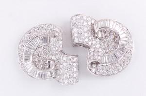 Vintage Art Deco platinum and diamond clips.