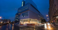 The new Whitney Museum of American Art in the evening, October 2014. Photo by Timothy Schenck. Photo courtesy Whitney Museum.