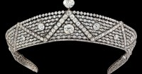 The Oriental Tiara is composed of wavy diamond set lines with a large cushion diamond at the center. Photo courtesy Cartier.