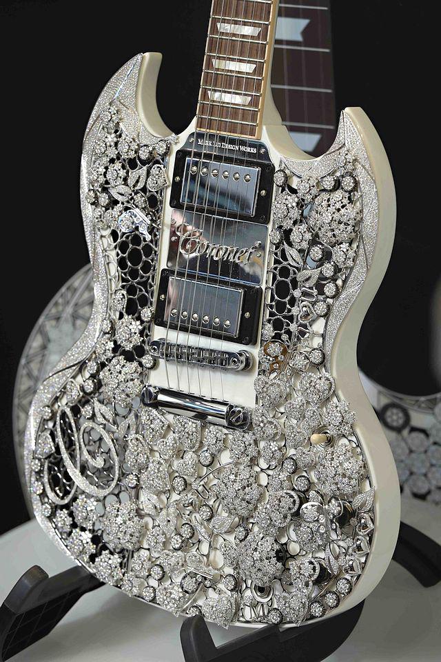 The Coronet Diamond Gibson Guitar was on display at the Bahrain International Exhibition & Convention Centre through November 28. Photos courtesy Gibson.