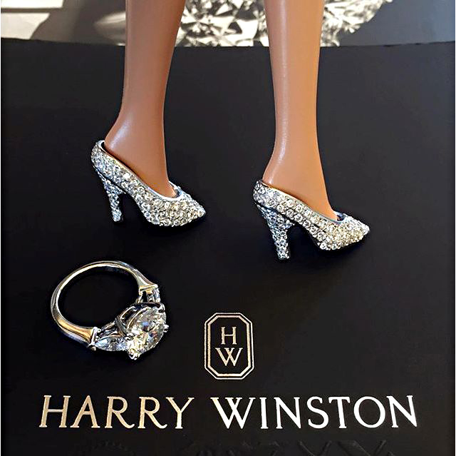 Harry Winston designed these tiny shoes using platinum and diamonds. Photo courtesy Sotheby's.