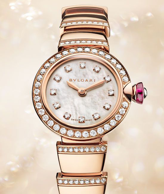 The Piccola LVCEA is accented with diamonds and gold meant to evoke Roman sunlight. Images courtesy Bulgari.
