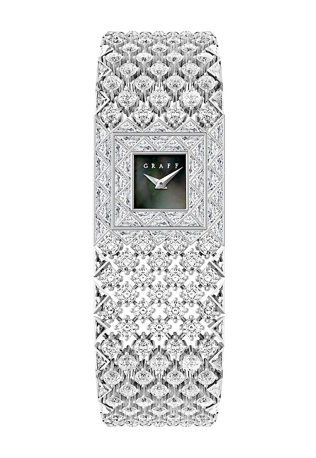 Offered in pink, black, or Tahitian mother-of-pearl, the timepiece's minimalist dial measures just 6.17mm. Photo courtesy Graff.