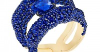 The blue sapphire version of the new Emotion Charmeuse ring stuns with more than 300 gems, including a 2.27-carat center stone. Photos courtesy Fabergé.