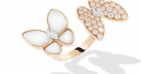 Van Cleef & Arpels plays with asymmetry on its new nacre Two Butterfly ring. Photos courtesy Van Cleef & Arpels.