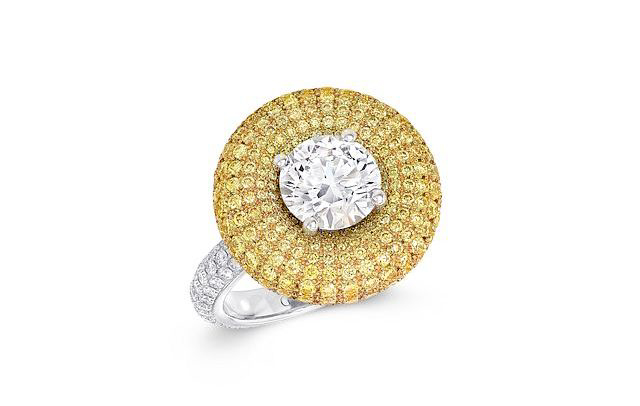 The Halo ring's dome of vivid diamonds creates a powerful impact. Photos courtesy Graff Diamonds.